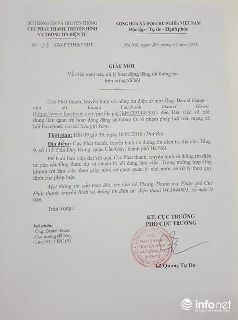 Đơn vị chức năng Bộ TTTT đã gửi giấy mời Daniel Hauer đến làm việc ảnh 1