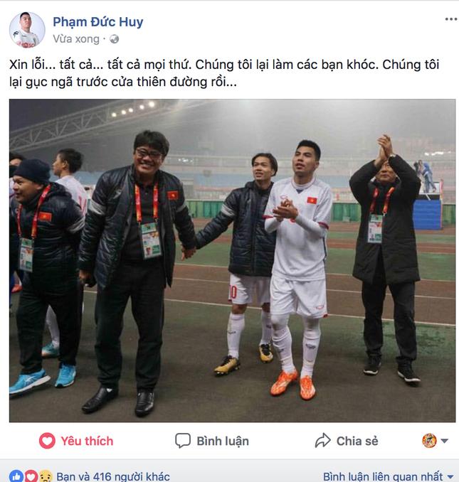 Nhiều cầu thủ U23 Việt Nam lên tiếng xin lỗi người hâm mộ dù đã thi đấu hết sức ảnh 1