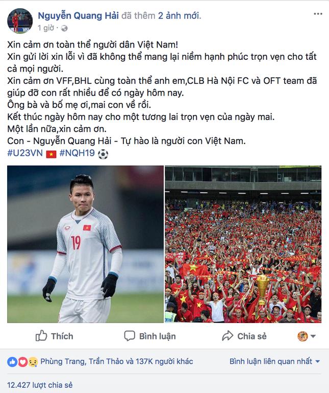 Nhiều cầu thủ U23 Việt Nam lên tiếng xin lỗi người hâm mộ dù đã thi đấu hết sức ảnh 3