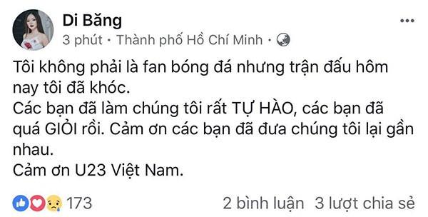 """Các mỹ nhân showbiz Việt thay nhau bày tỏ tình cảm tới những """"người hùng"""" U23 ảnh 8"""