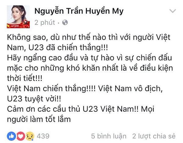 """Các mỹ nhân showbiz Việt thay nhau bày tỏ tình cảm tới những """"người hùng"""" U23 ảnh 7"""