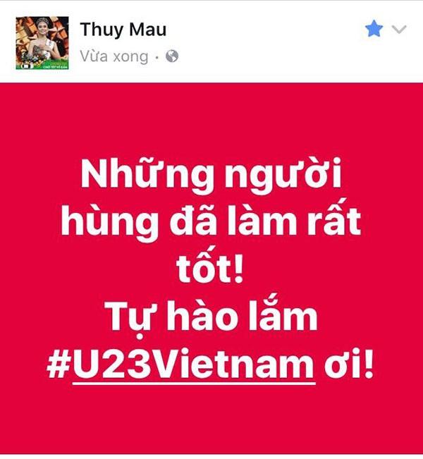 """Các mỹ nhân showbiz Việt thay nhau bày tỏ tình cảm tới những """"người hùng"""" U23 ảnh 5"""
