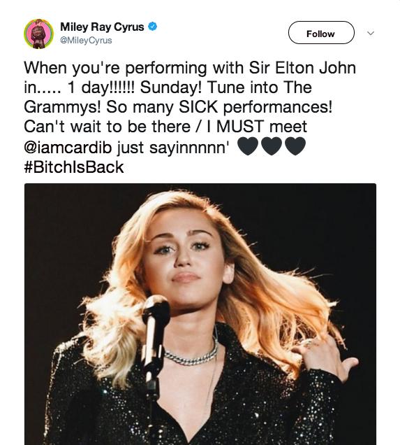 Miley vui mừng chia sẻ trên Twitter về việc mình sẽ cùng trình diễn với danh ca Elton John.