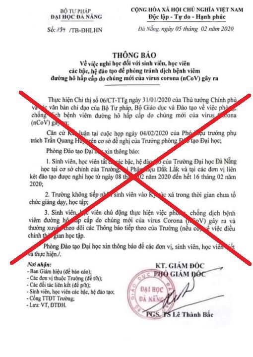 Đại học Đà Nẵng bị giả mạo văn bản cho sinh viên nghỉ thêm 1 tuần ảnh 1