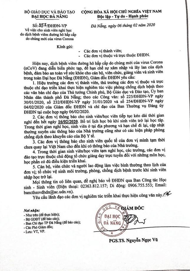 Đại học Đà Nẵng bị giả mạo văn bản cho sinh viên nghỉ thêm 1 tuần ảnh 2