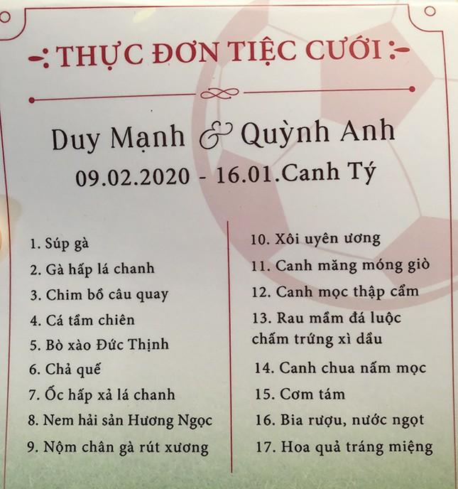 2 thực đơn đám cưới gây chú ý của hotboy đội tuyển Việt Nam Duy Mạnh ảnh 1