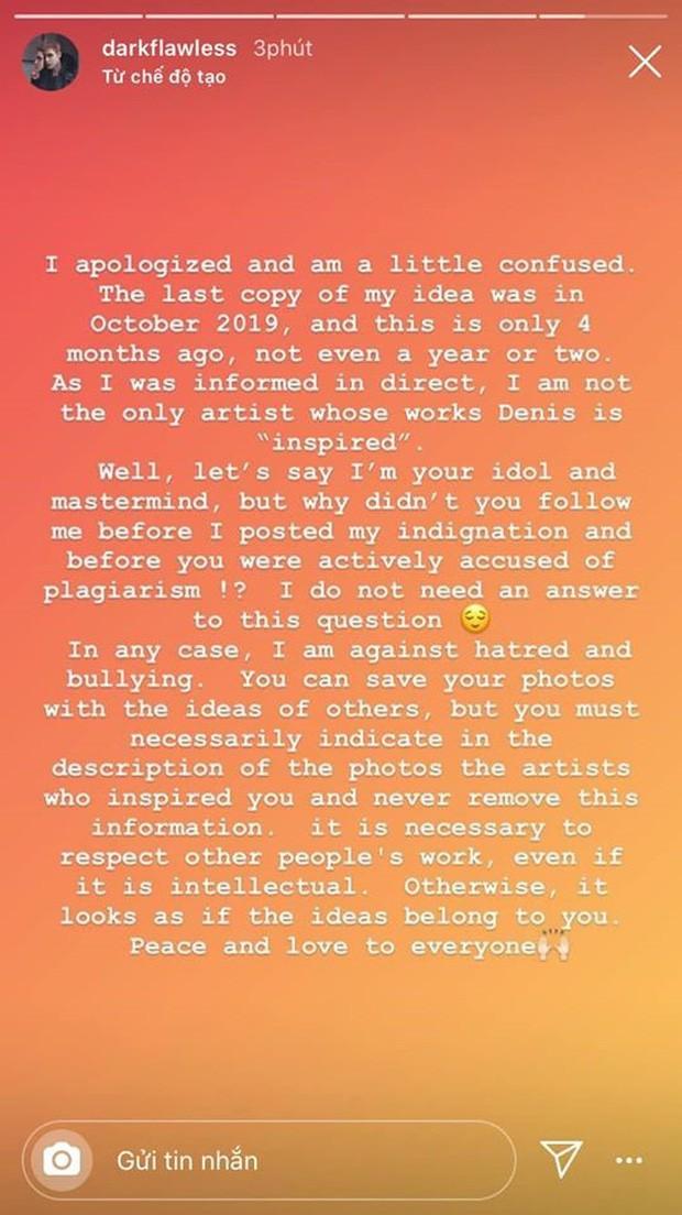 """Denis Đặng xin lỗi chủ tài khoản Instagram nước ngoài về việc """"mượn ý tưởng"""" nhưng bị phản bác không ngờ ảnh 6"""
