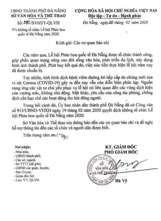 Đà Nẵng hủy bỏ Lễ hội Pháo hoa Quốc tế 2020 vì dịch bệnh Covid-19 ảnh 1