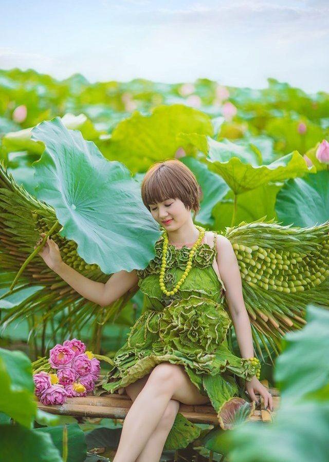 Độc đáo loạt ảnh sen với bộ váy hoàn toàn bằng lá cây - ảnh 4