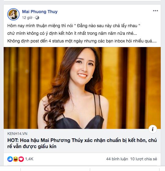 Hoa hậu Mai Phương Thuý: 'Không có ý định kết hôn trong năm năm tới' - ảnh 1