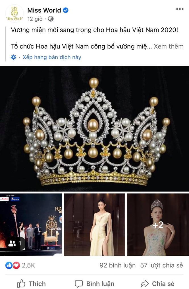 Vương miện của Hoa hậu Việt Nam 2020 xuất hiện trên trang chủ Miss World  - ảnh 1