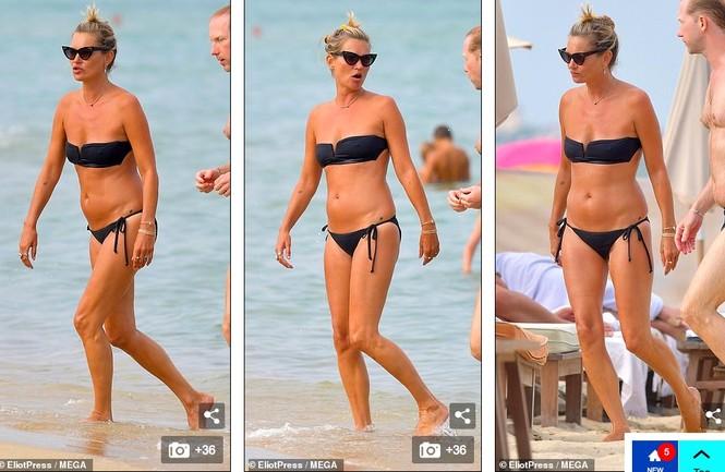 'Huyền thoại làng mốt' Kate Moss tự tin mặc bikini bé xíu ở tuổi 45 - ảnh 1