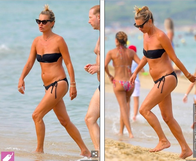 'Huyền thoại làng mốt' Kate Moss tự tin mặc bikini bé xíu ở tuổi 45 - ảnh 2
