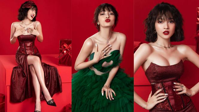 Bảo Anh mặc cúp ngực nóng bỏng, rực rỡ nhất nhì sao Việt dịp Giáng sinh  - ảnh 2