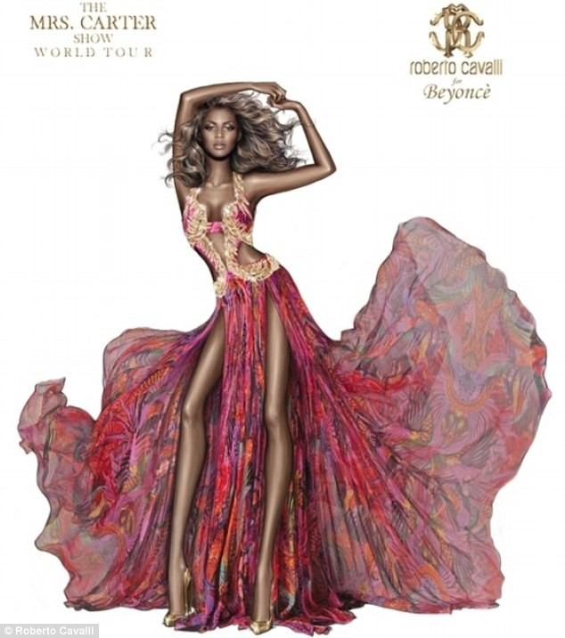 Tạo hình đầy ấn tượng của Beyonce trong thiết kế của 'phù thủy thời trang' Roberto Cavalli