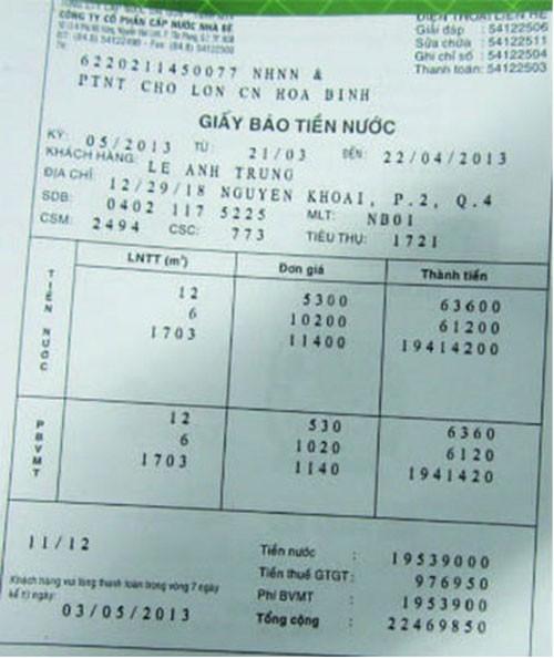 """Hóa đơn nước """"khủng"""" của khách hàng Lê Anh Trung (trú tại 12/29/18 Nguyễn Khoái, phường 2, quận 4, TP.HCM)."""