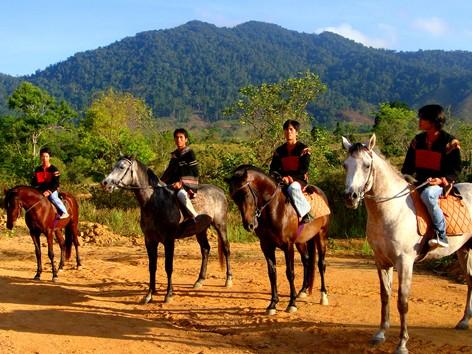Kỵ sĩ Krông Á chuẩn bị đua ngựa. ảnh: H.T.N