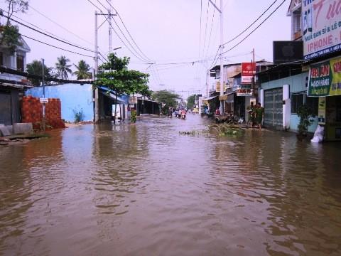Khoảng 1km đường Tam Bình, phường Hiệp Bình Chánh chìm trong biển nước do ảnh hưởng của vụ vỡ đê bao tối qua