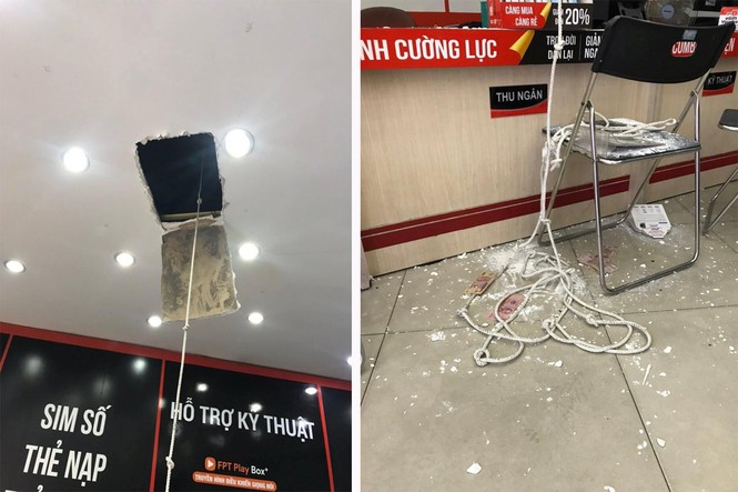 Thanh niên phá trần nhà, đu dây xuống trộm 120 triệu tại cửa hàng điện thoại - ảnh 1