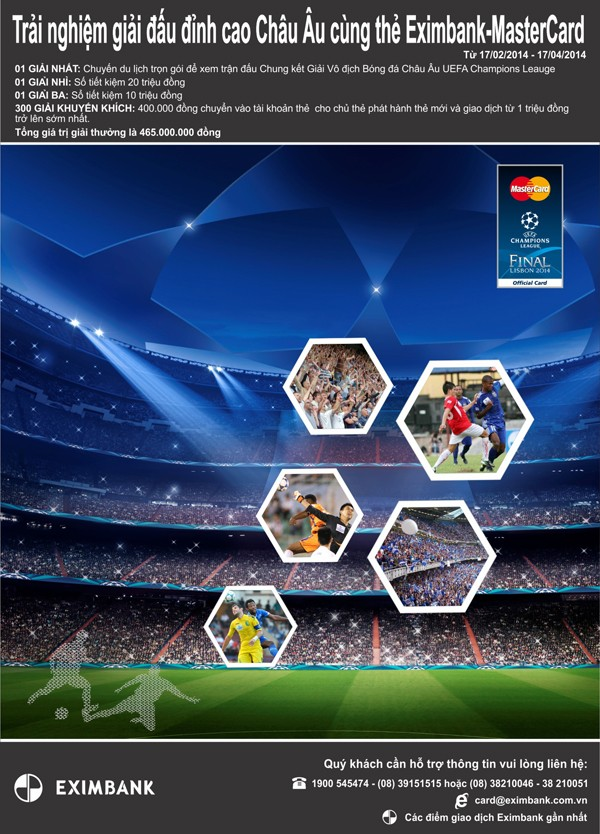 Trải nghiệm giải đấu đỉnh cao châu Âu cùng thẻ Eximbank - MasterCard - ảnh 1