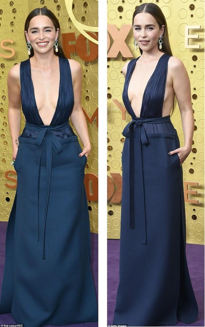 'Mẹ rồng' Emilia Clarke 'thả rông' tại Emmy, tái ngộ dàn sao Game of Thrones - ảnh 1
