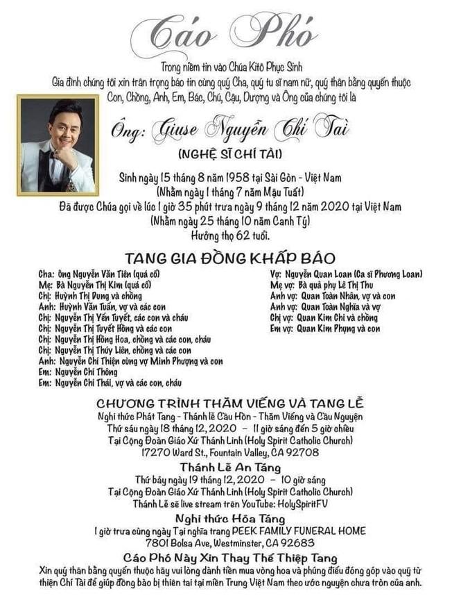 Thông tin tang lễ chính thức của nghệ sĩ Chí Tài ở Mỹ - ảnh 1