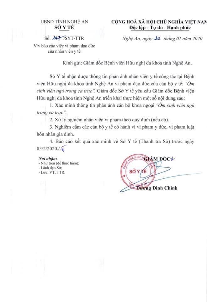 """Xác minh thông tin bác sỹ ở Nghệ An """"ôm sinh viên ngủ trong ca trực"""" - ảnh 2"""
