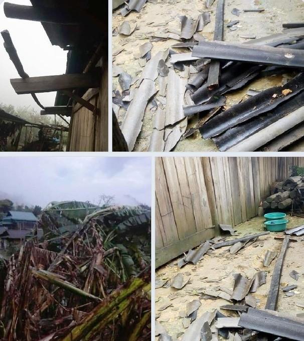 Mưa đá kèm theo lốc xoáy khiến nhiều nhà dân bị hư hỏng nặng - ảnh 2