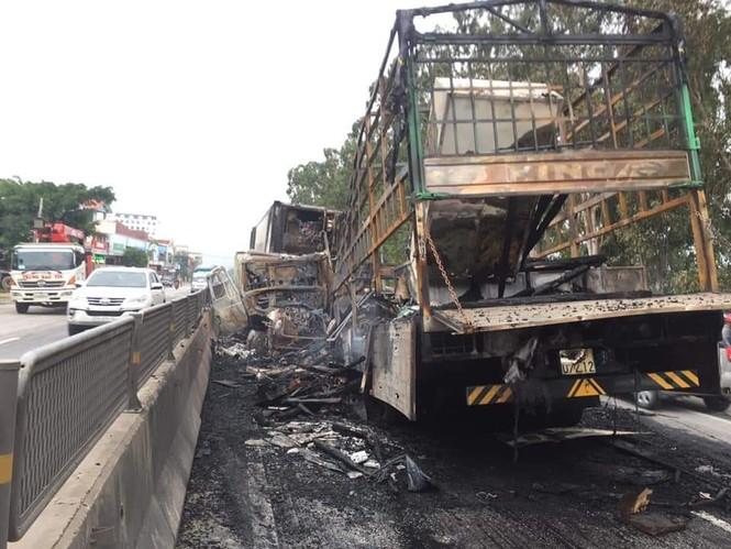 Xe tải và xe container bốc cháy dữ dội sau cú va chạm trên quốc lộ - ảnh 2