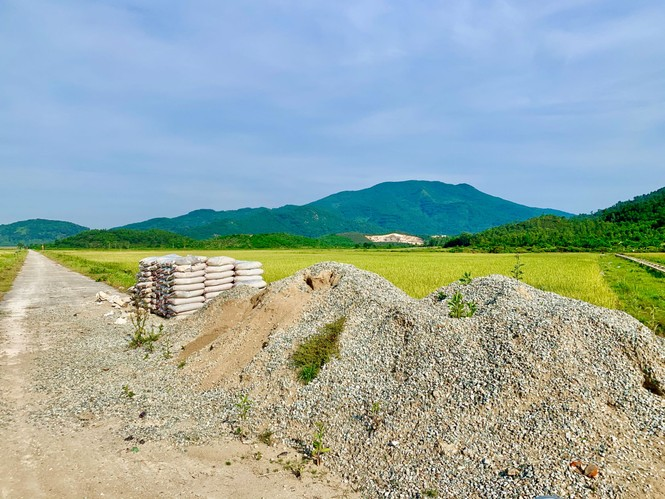 """  Nhà thầu """"bặt vô âm tín"""", hàng chục tấn xi măng hóa đá giữa cánh đồng - ảnh 1"""