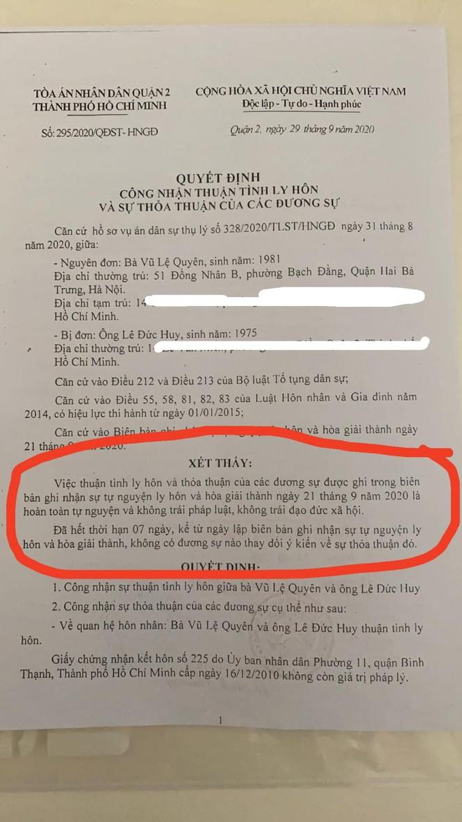 Ca sĩ Lệ Quyên xác nhận đã thuận tình ly hôn  - ảnh 2