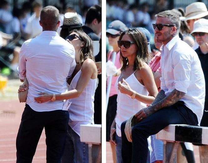 Victoria Beckham vòng tay ôm eo chồng tình tứ, nở nụ cười hiếm hoi - ảnh 4