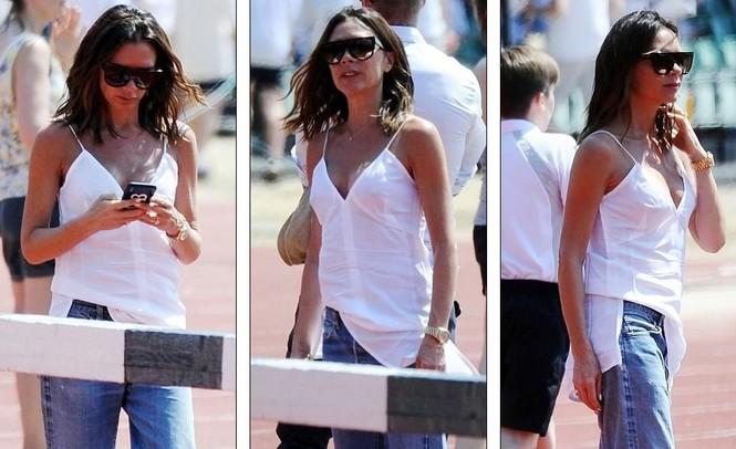 Victoria Beckham vòng tay ôm eo chồng tình tứ, nở nụ cười hiếm hoi - ảnh 8