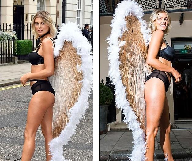 Mỹ nhân Anh quốc Ashley James mặc nội y, đeo cánh thiên thần ra phố - ảnh 6