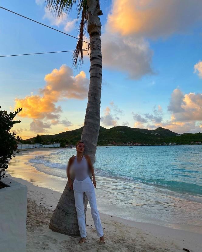 Bella Hadid áo xuyên thấu mỏng tang tạo dáng bên cây dừa - ảnh 10