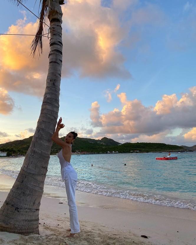 Bella Hadid áo xuyên thấu mỏng tang tạo dáng bên cây dừa - ảnh 8
