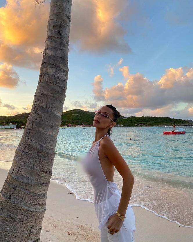 Bella Hadid áo xuyên thấu mỏng tang tạo dáng bên cây dừa - ảnh 6