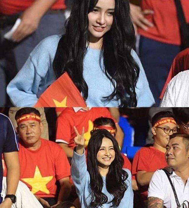 Cô gái xinh như mộng trên khán đài chung kết bóng đá nam SEA Games 30 - ảnh 1