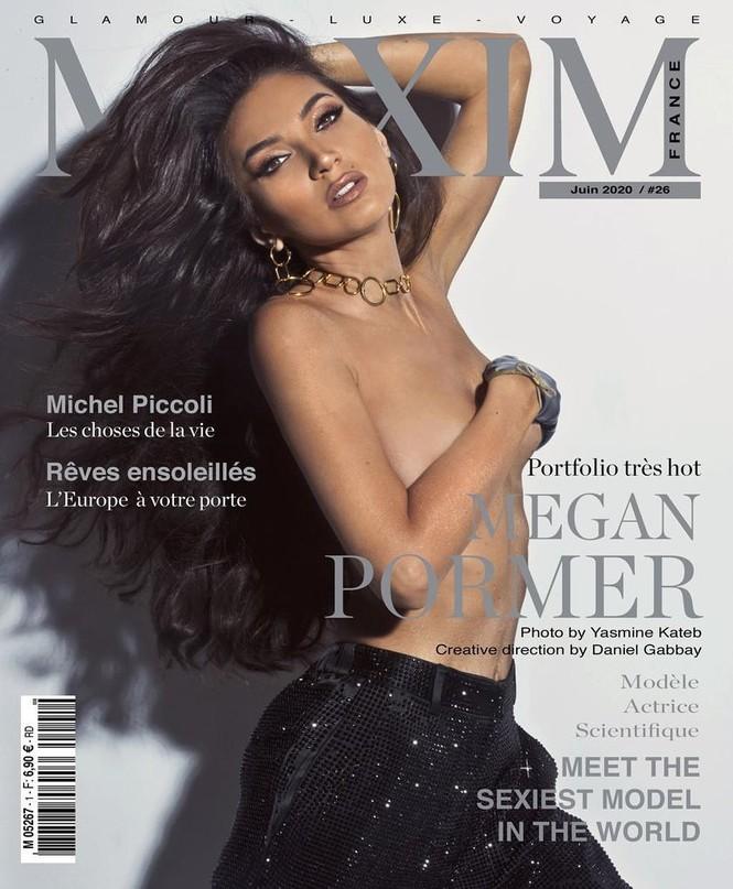 Người đẹp 9x Megan Pormer hững hờ che ngực trần trên bìa Maxim - ảnh 1