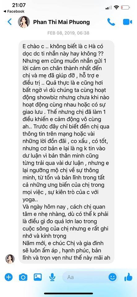 Hồ Ngọc Hà hé lộ tin nhắn cuối cùng của Mai Phương dành cho mình - ảnh 1