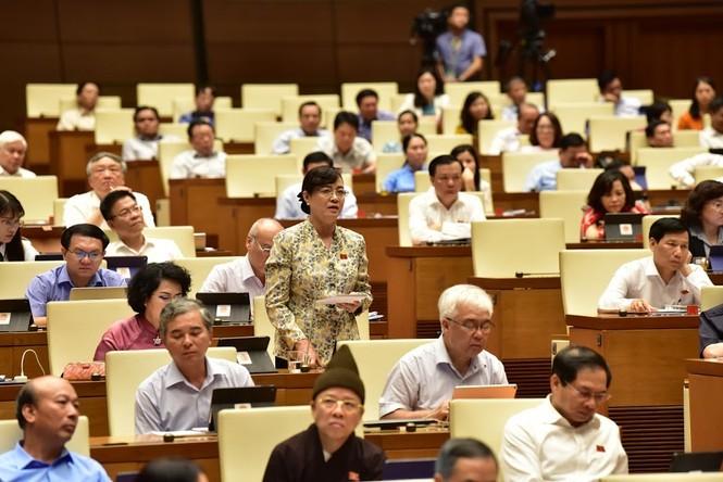 Bà Nguyễn Thị Quyết Tâm bật khóc trước Quốc hội khi nói về tăng giờ làm thêm - ảnh 2