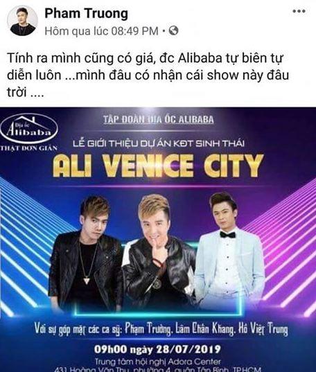 Hàng loạt ca sĩ bức xúc vì địa ốc Alibaba cho làm khách mời... bất đắc dĩ  - ảnh 1