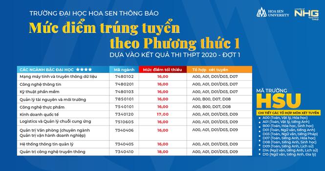 Trường ĐH Hoa Sen công bố điểm chuẩn - ảnh 1