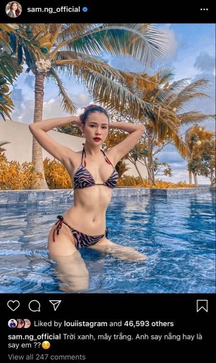 Lần hiếm hoi hotgirl Sam diện bikini khoe vòng 1 và đường cong hình thể gợi cảm - ảnh 1