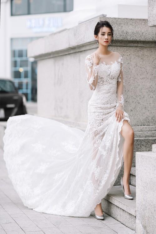 Vẻ đẹp mong manh của MC Quỳnh Chi khi hoá thành cô dâu - ảnh 1