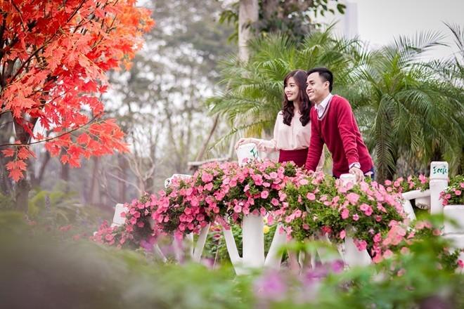 Công viên rực rỡ hoa xuân ở vùng ven Hà Nội - ảnh 4