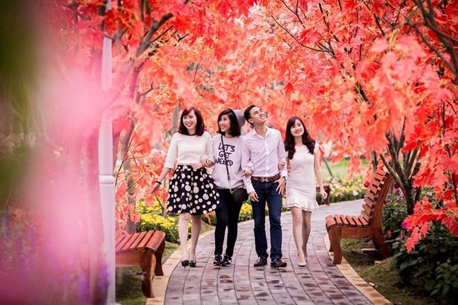 Công viên rực rỡ hoa xuân ở vùng ven Hà Nội - ảnh 7