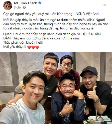 NSND Việt Anh hội ngộ đàn em Trấn Thành sau ồn ào với Cát Phượng  - ảnh 1