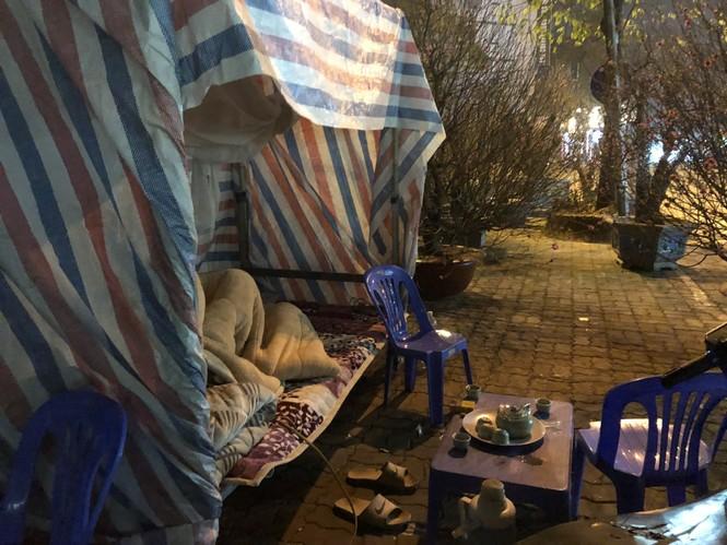 Dân buôn thức trắng đêm 'canh' đào, bưởi  trên vỉa hè Hà Nội - ảnh 9