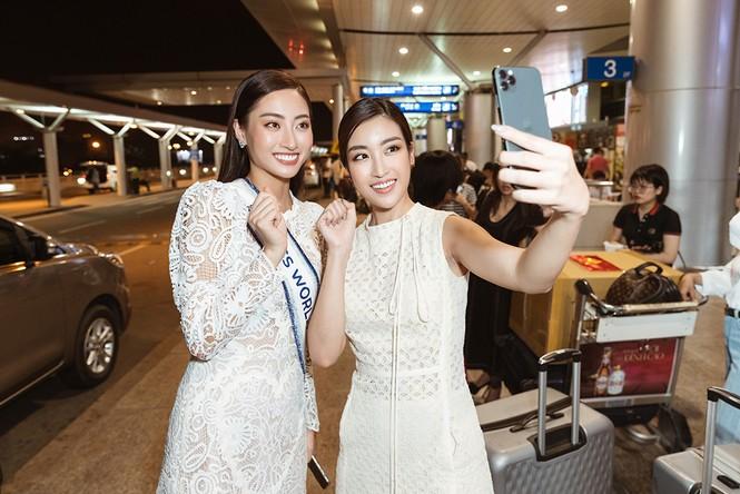 Lương Thuỳ Linh và dàn Hoa hậu đính đám làm 'náo loạn' sân bay lúc nửa đêm - ảnh 11